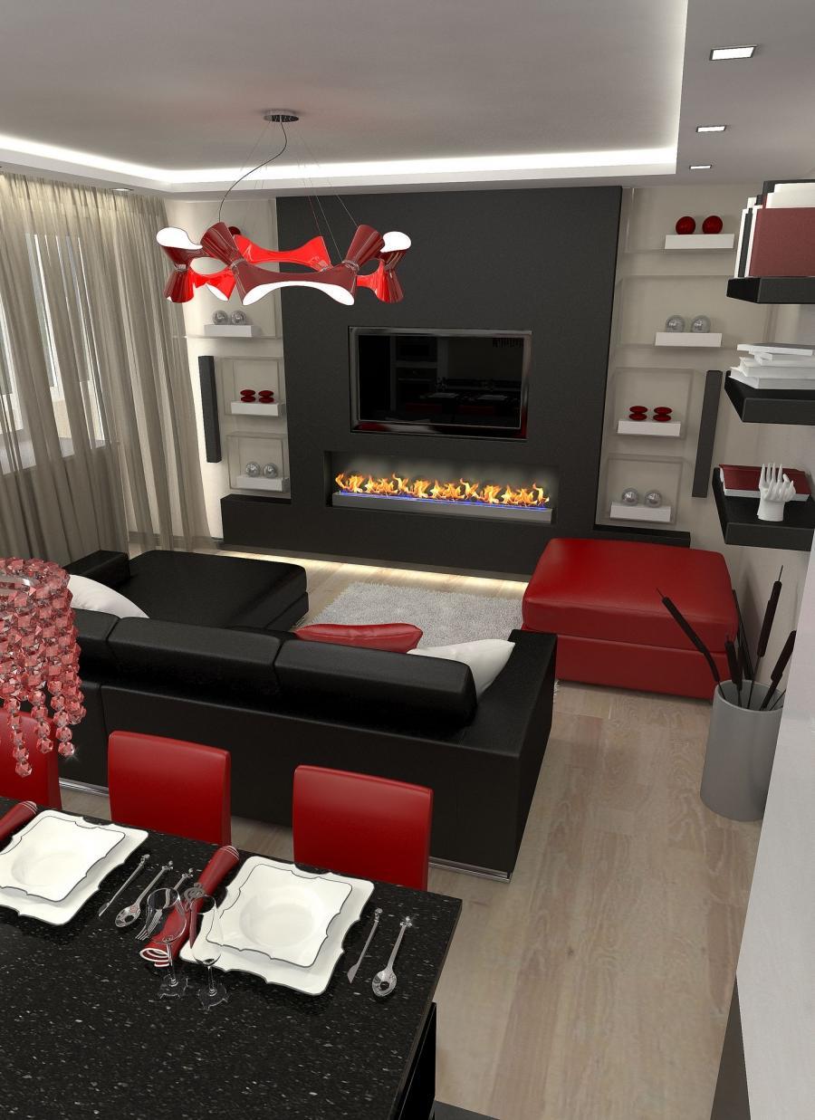Black white red living room photos for Black red and white living room designs