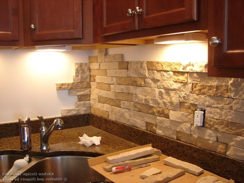 Stacked stone backsplash photos for Kitchen cabinets lowes with rock band wall art