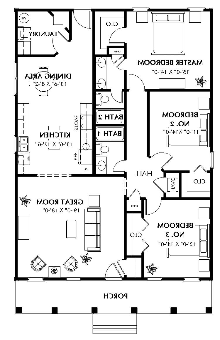 House plans photos 3 bedrooms for Bachelor house plans