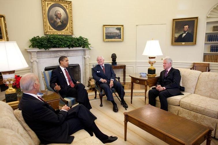 President Barack Obama meets with former President Bill Clinton,...