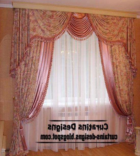 Dream bedroom drapery curtain design, patterned pink curtain ~...