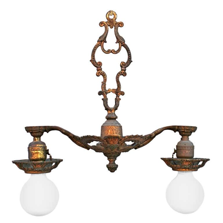 1920u Two-light Fixture with Thistle Motif