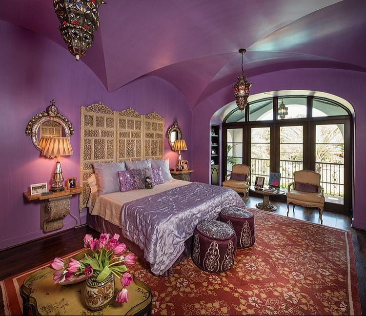 ... aa152 Purple is a perfect hue of a Moroccan themed room with...