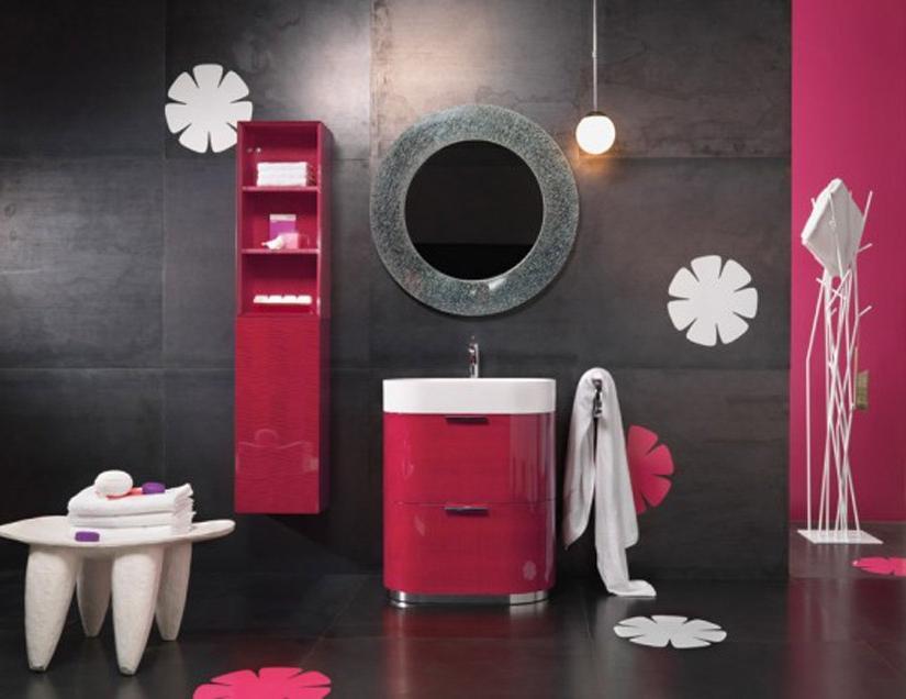 Red ikea bathroom