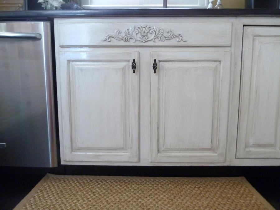 Simple idea for Distressed Milk Paint Kitchen Cabinets