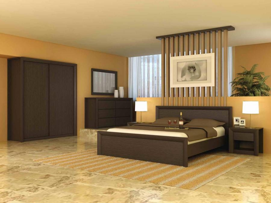 Cream Bedroom With Dark Wood Bedding Closet And Cabinet With...