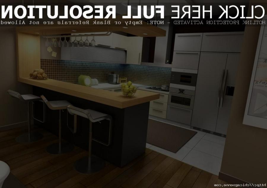 ... Modular Small kitchen With Black Island and Yellow Countertop...
