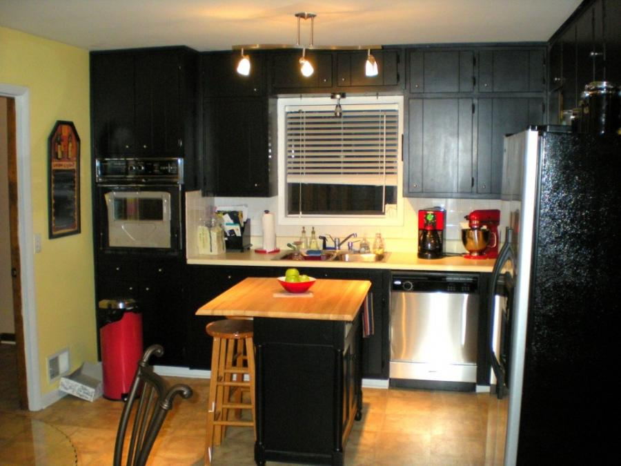Kitchen, Awesome Dark Kitchen Cabinets With Bright Colored...