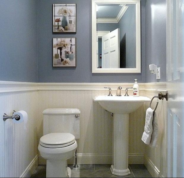 Half bathroom ideas photo gallery - Small half bathroom tile ideas ...