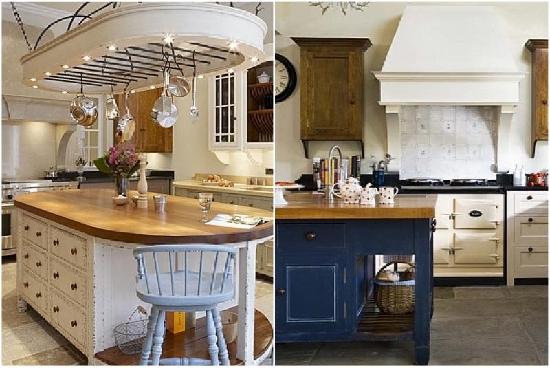 These Old World style gourmet kitchens boast islands in charming...