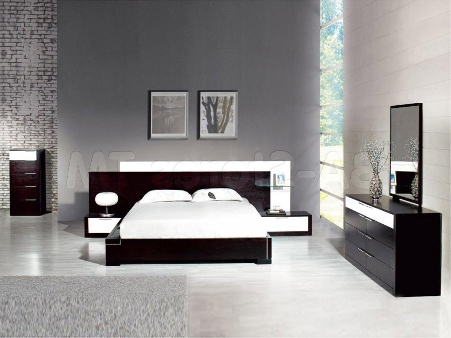 Awesome Modern Bedroom Decor With Black Low Profile Bed Sets...