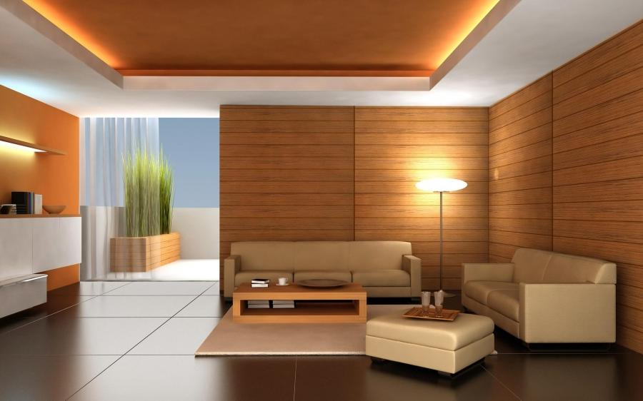 False ceiling with lights for living room with wooden wall
