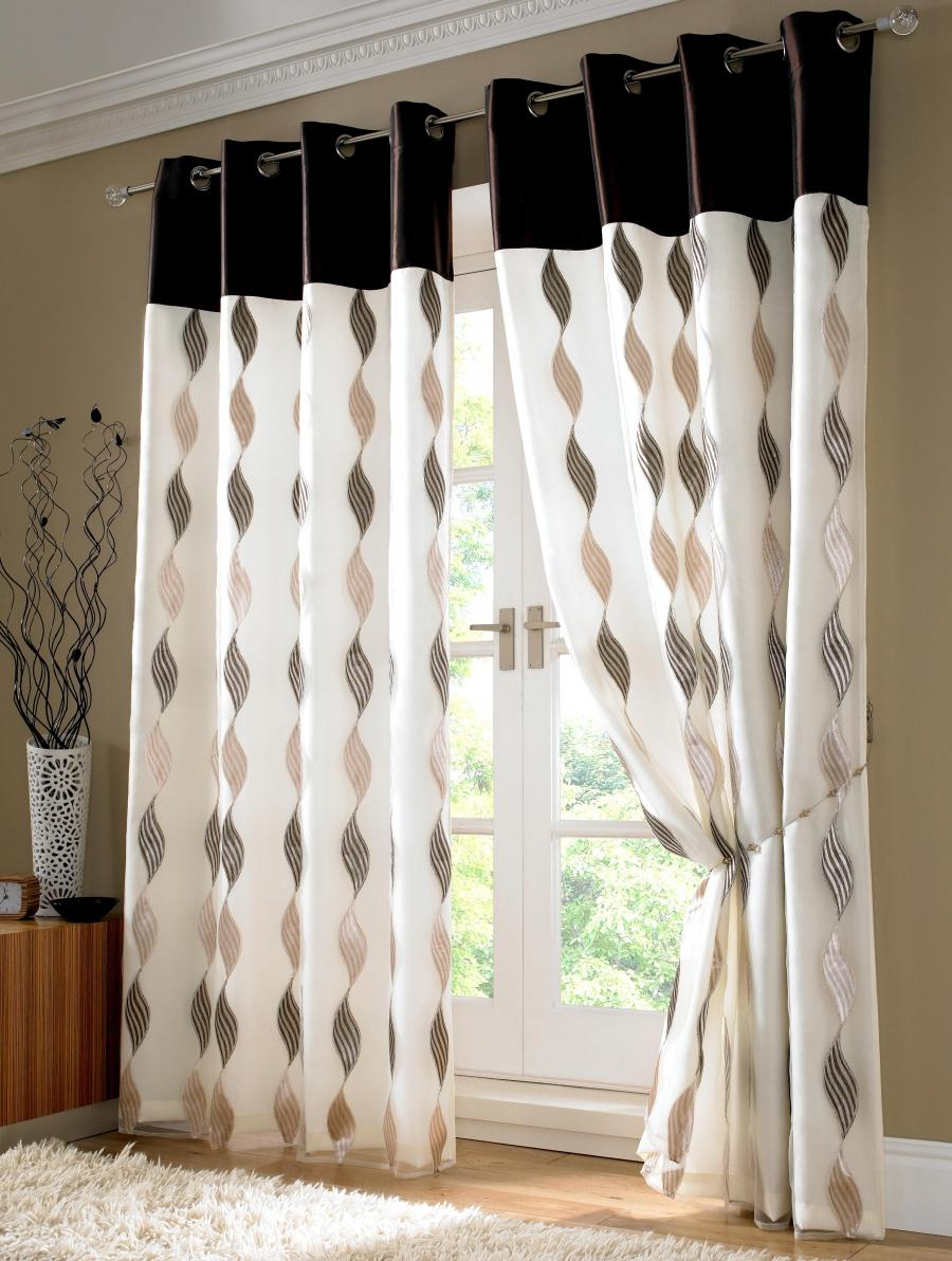 White And Black Mocca Elegant Curtain With Stainless Panel Design...