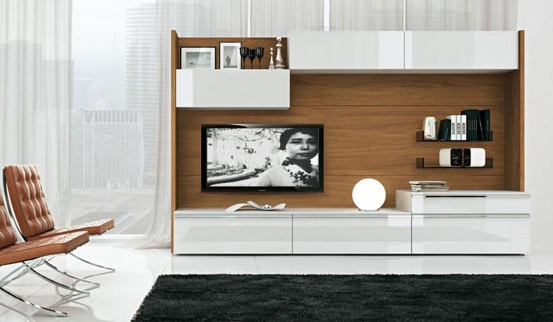 Modern Wood and White TV Wall Mount Furniture