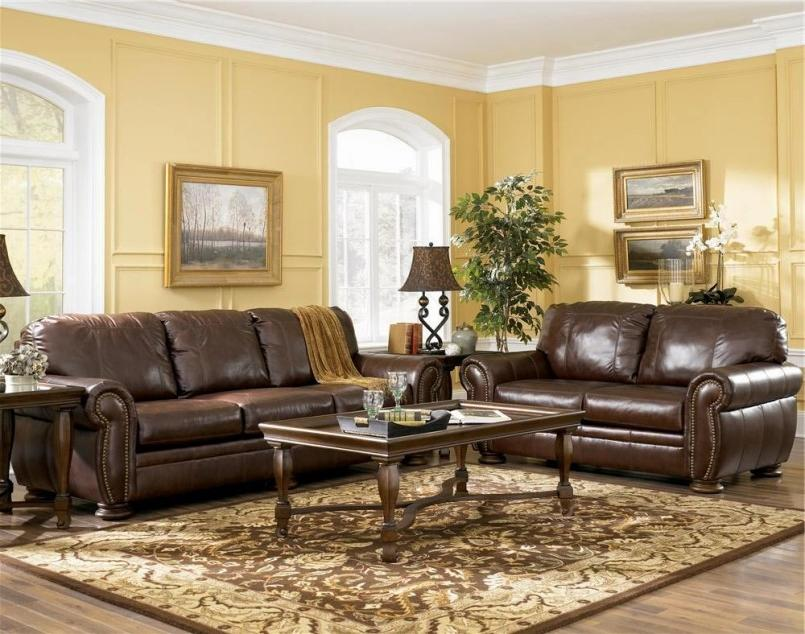 Photos of living rooms with brown furniture