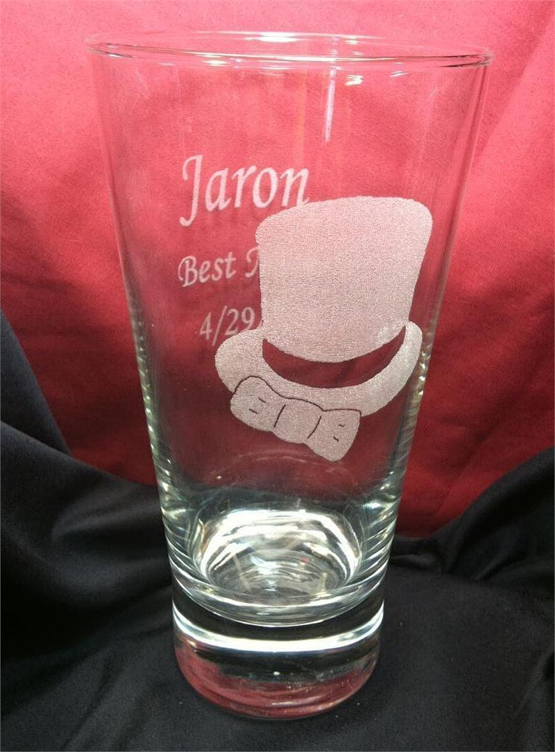 Photo engraved pint glass