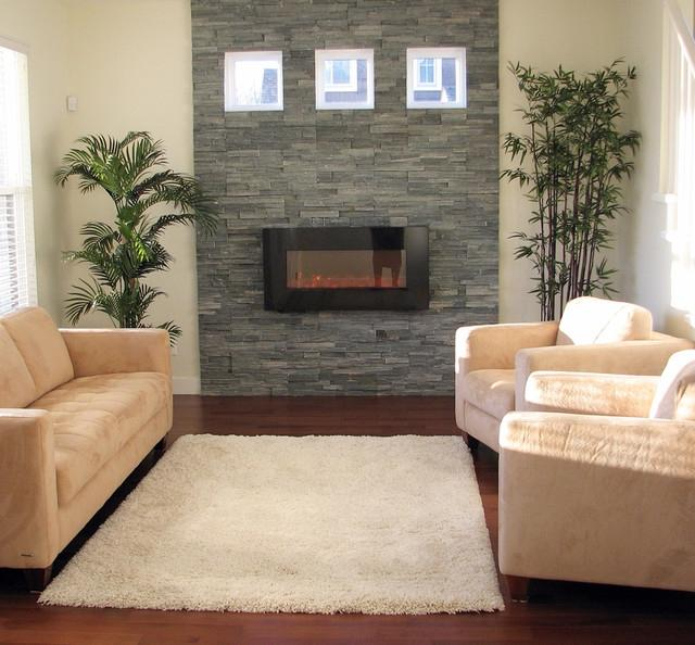 Stacked Stone Fireplace with Natural Light...