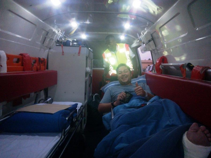 Hereu Theunis in an ambulance with his passport in hand. The...