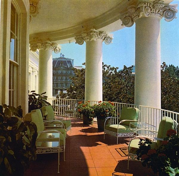 The Truman Balcony in 1981 (Architectural Digest - Derry Moore)