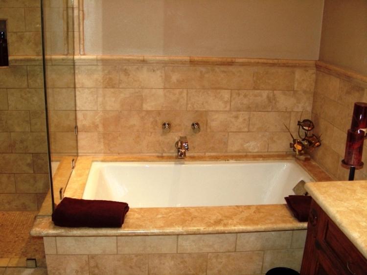 Tumbled travertine bathroom photos for Bath remodel orange county