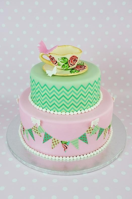 The vibrant designs on this cake were created using edible icing...