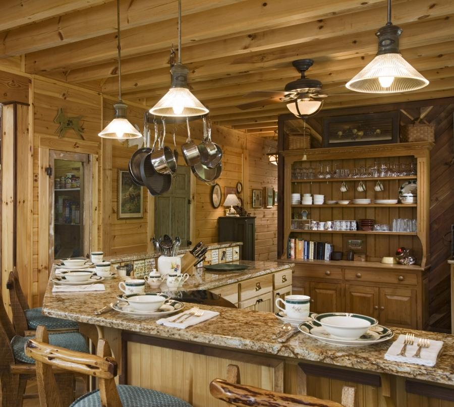 Log Cabin Kitchen  Marble Counter Tops