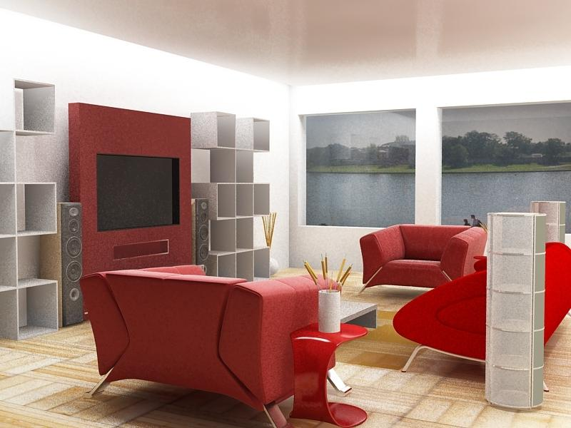 28 red and white living rooms source