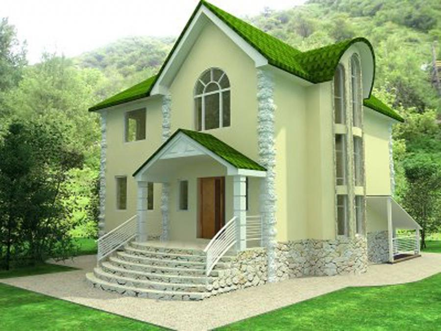 Exterior Classy Traditional Exterior House Design with Green...