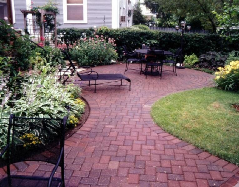 Landscaping Stone Fredericksburg Va : Brick paver patio with a victorian pattern design for sitting