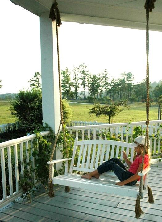 Country house photo porch swing for Victorian porch swing plans