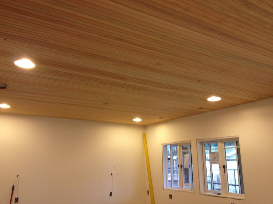 Nice breadboard ceiling going up this week at the Greenlake...