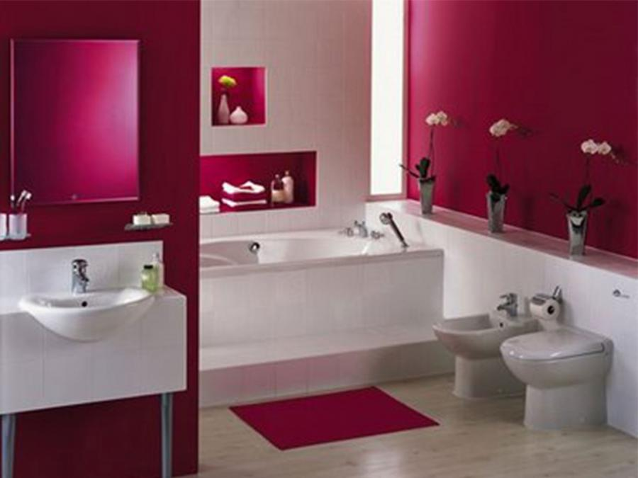 Bathroom : Pink Ceramic In Interior On Walls Decoration To Make...