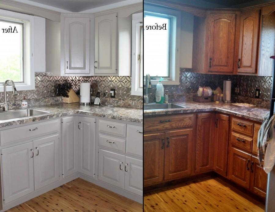 Before and after photos refinishing cabinets for Cabinets before and after
