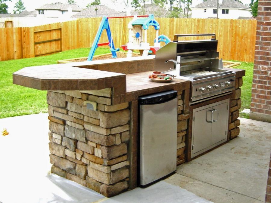 Photos of small outdoor kitchens for Pre built outdoor kitchen islands