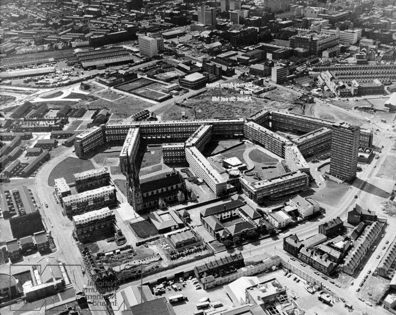 A British military photo of the Divis Flats complex circa...