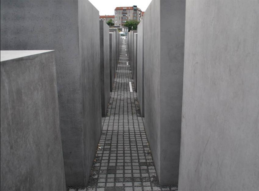 Some of the large concrete blocks at the Jewish Memorial in...