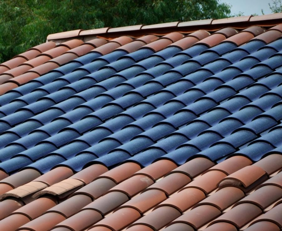 Roof Shingles Coated With Photo Voltaic Cells Amorphous