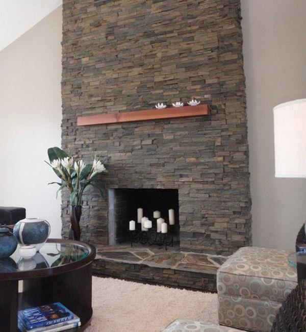 ... stacked stone fireplace surrounds ...