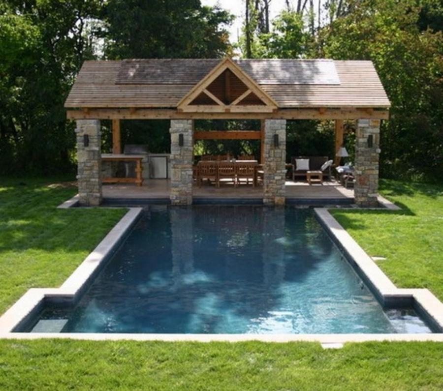 Rustic Pool House Designs: Brick Gazebo Photo