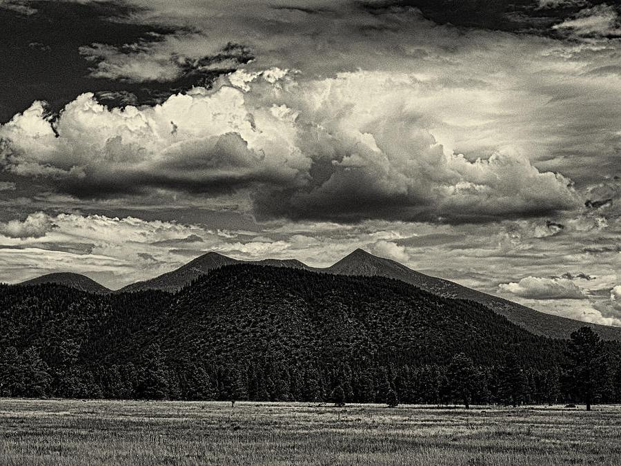 San Francisco Peaks In Black And White Photograph