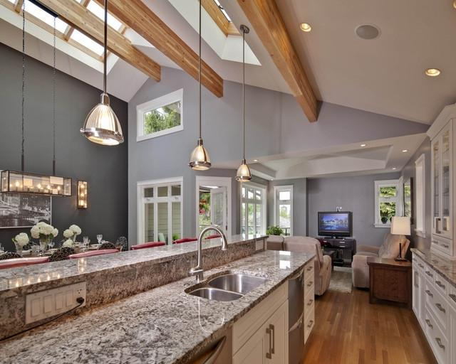 Kitchen with vaulted ceiling and skylight contemporary-kitchen