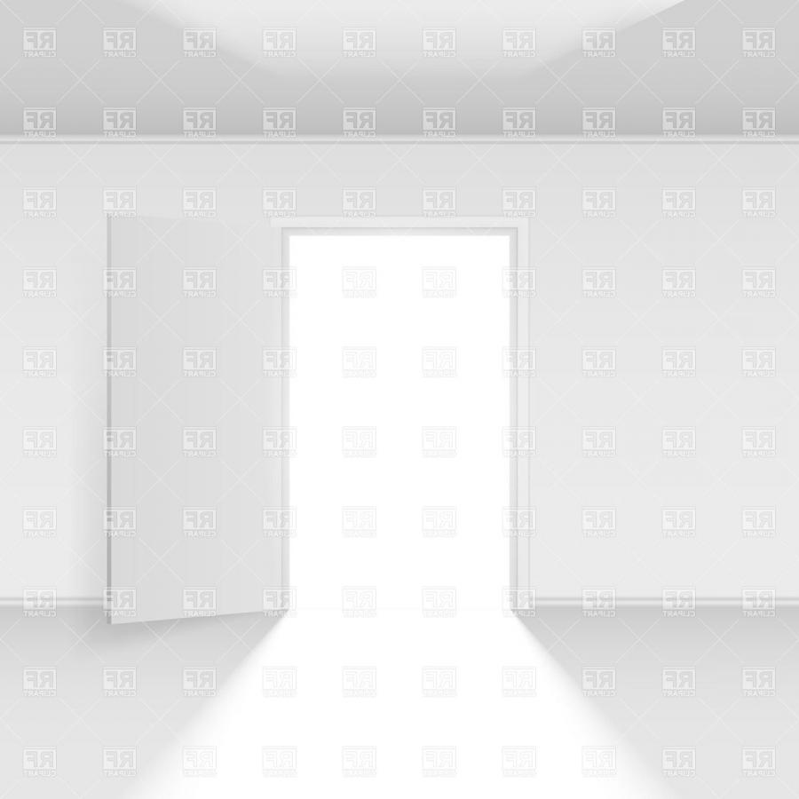 Opened door with light in white room. Click to zoom