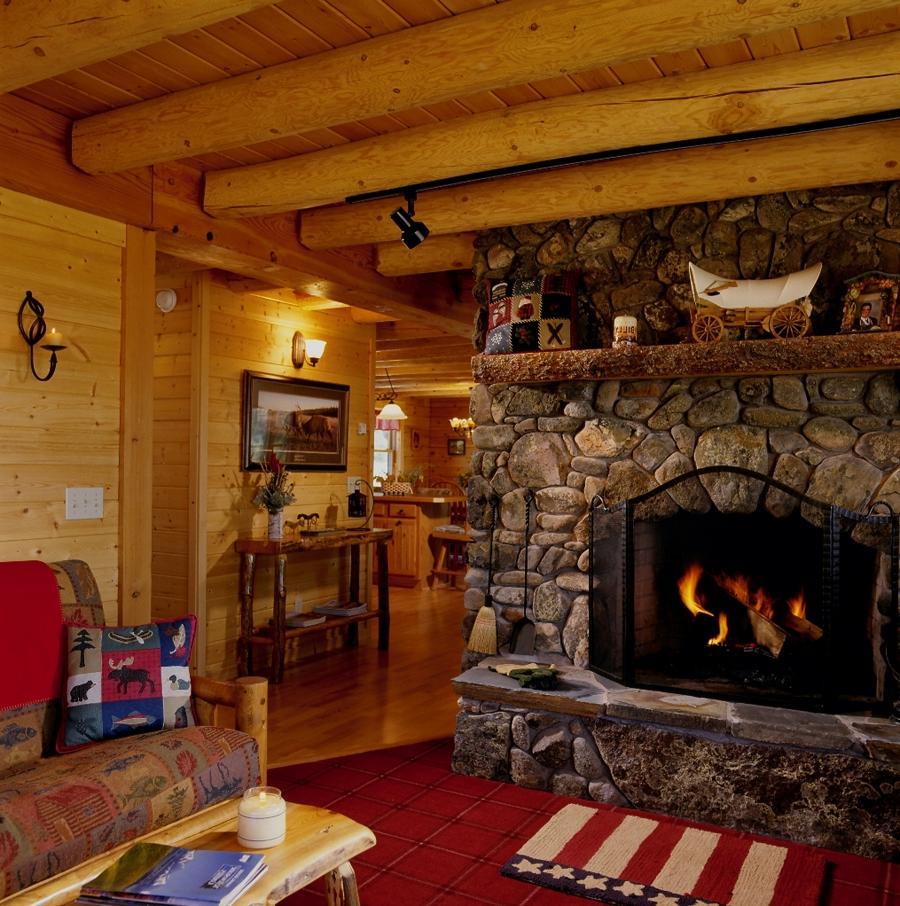 Log Home Fireplace Photos