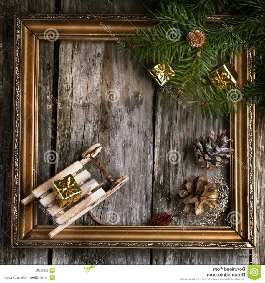Christmas card with vintage frame Stock Photos