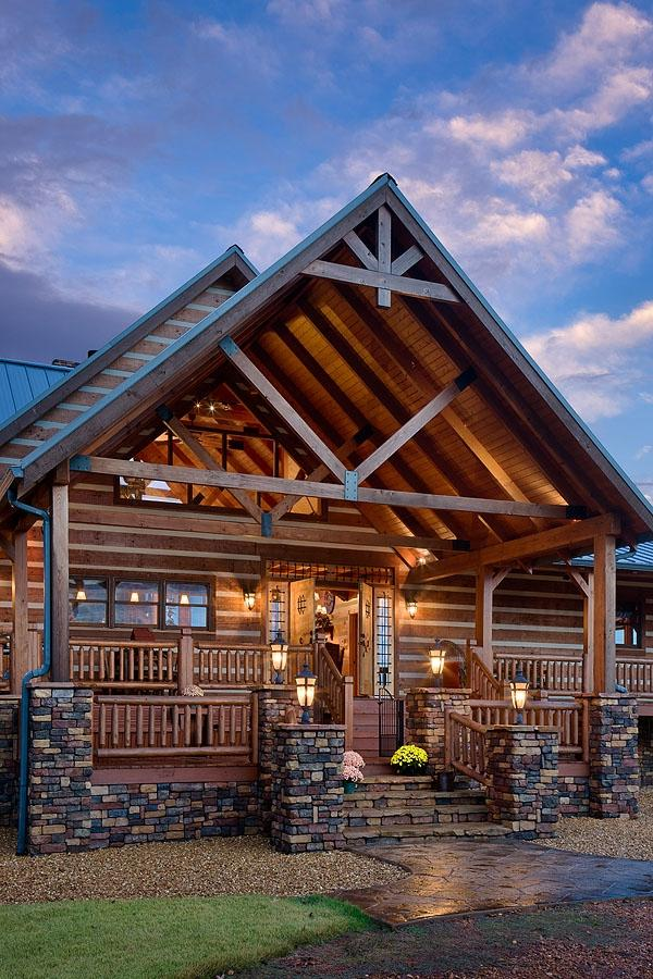 Log cabin front porch photos for Gable log homes