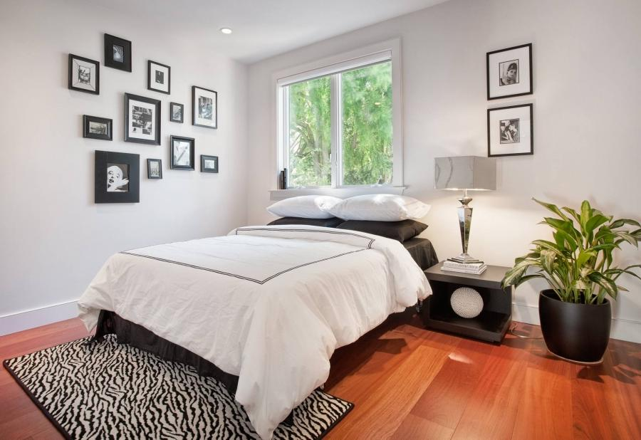 Interior, Wooden Floor Style With The Best Decoration Black Bed...