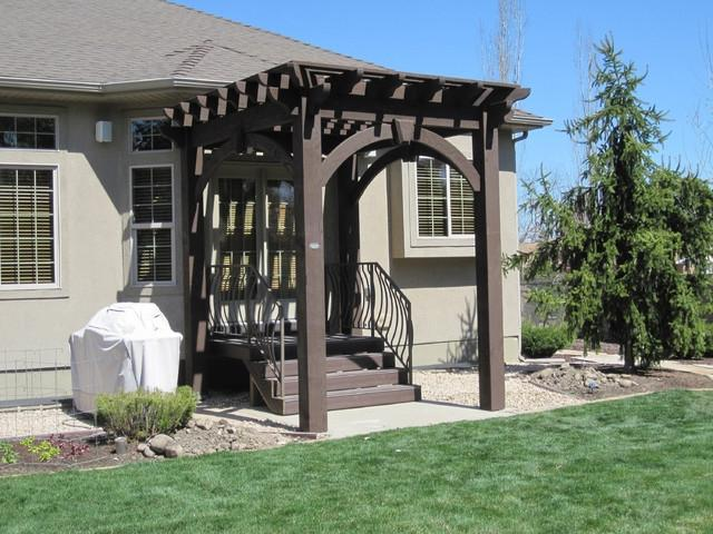 Timber Frame Pergola for Shade Over Bradford Entryway patio