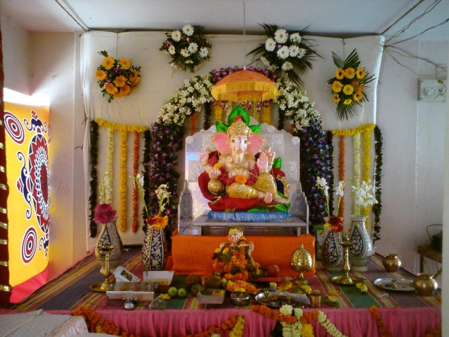 Ganesh decoration photos for Background decoration for ganpati