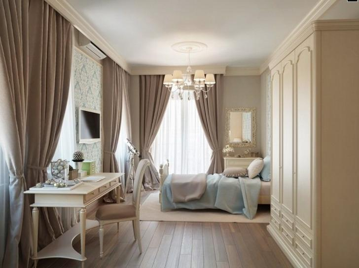 Bedroom, Astonishing Brown Bedroom Curtains With French Furniture...