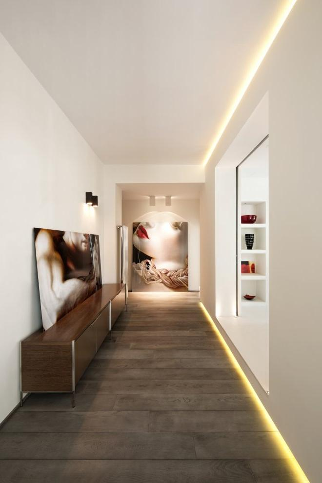 White Modern Long Hallway Stretches For Interior Design With...